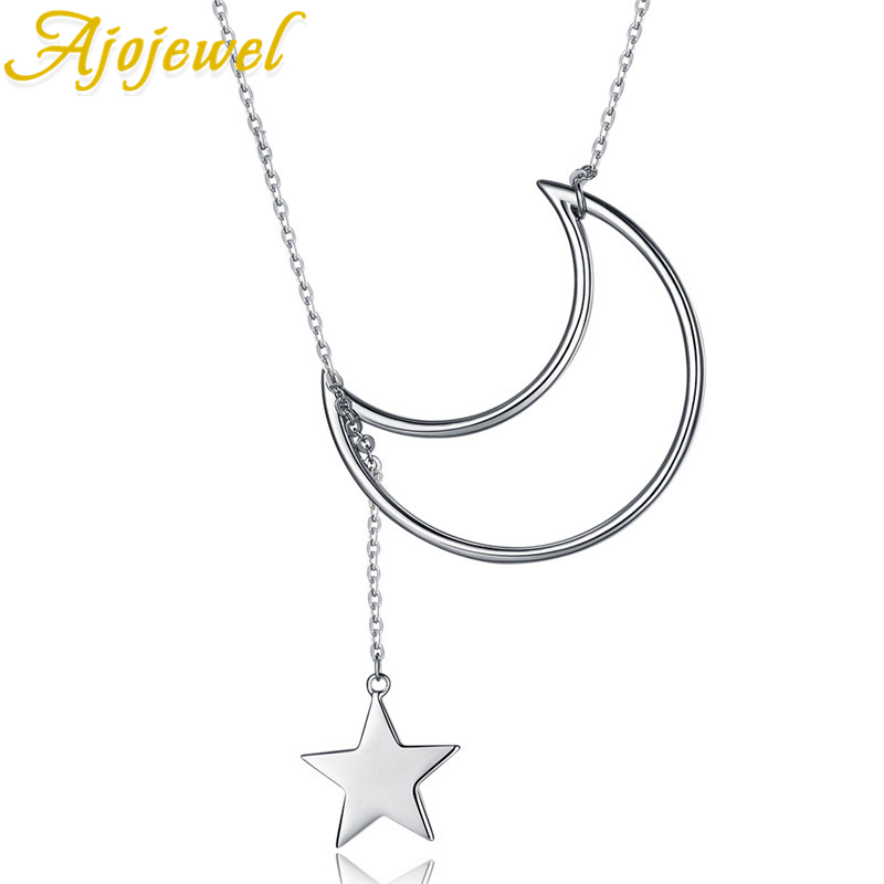 Ajojewel Natural Design Moon&Star Silver Metal Pendant Chain Necklace Simple Design Sterling Silver 925 Fashion Jewelry Collar star design body chain
