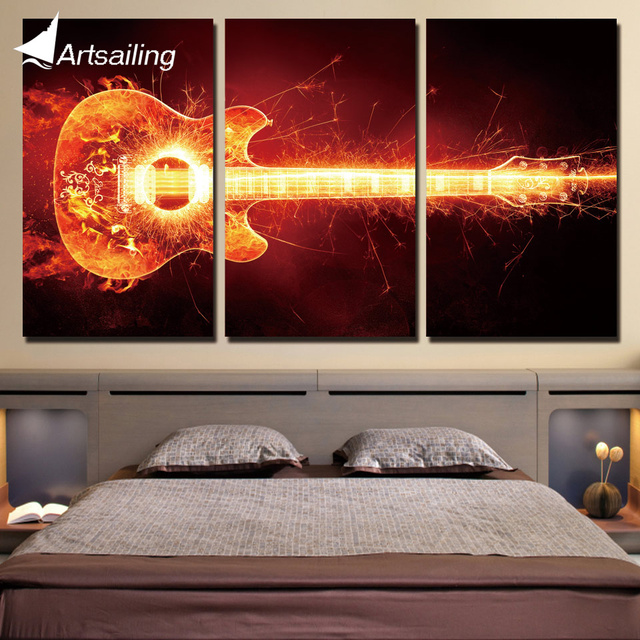 3 piece canvas art blazing guitar music flame home decor canvas painting prints wall pictures for