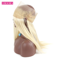 Smoora Malaysian Non Remy Hair 22.5*4*2 Free Part 613 Blonde 360 Lace Frontal Closure Baby Hair Straight Human Hair 130% Density