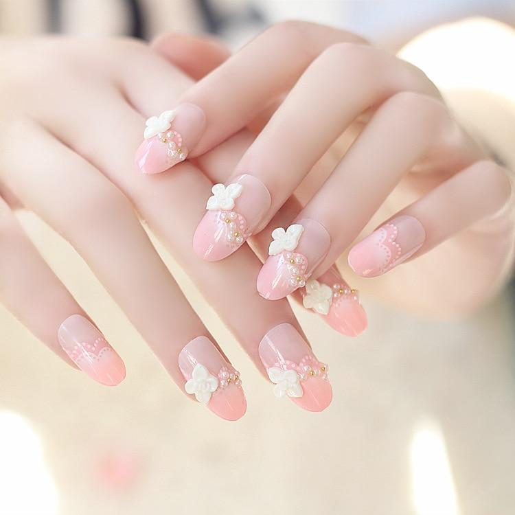 Wedding Nails Sweet Princess Pink Designed Long Fake Nails 24pcs ...