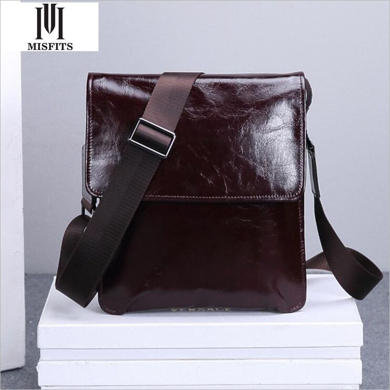 ФОТО MISFITS Man Genuine Leather Messenger Bag High Quality 2016 New Cow Leather Man Shoulder Bag WHB272