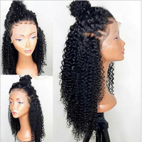 DLME Black Afro Kinky Curly Synthetic Lace Front Wig 180% Density Glueless Heat Resistant Wigs With Baby Hair For Black Women