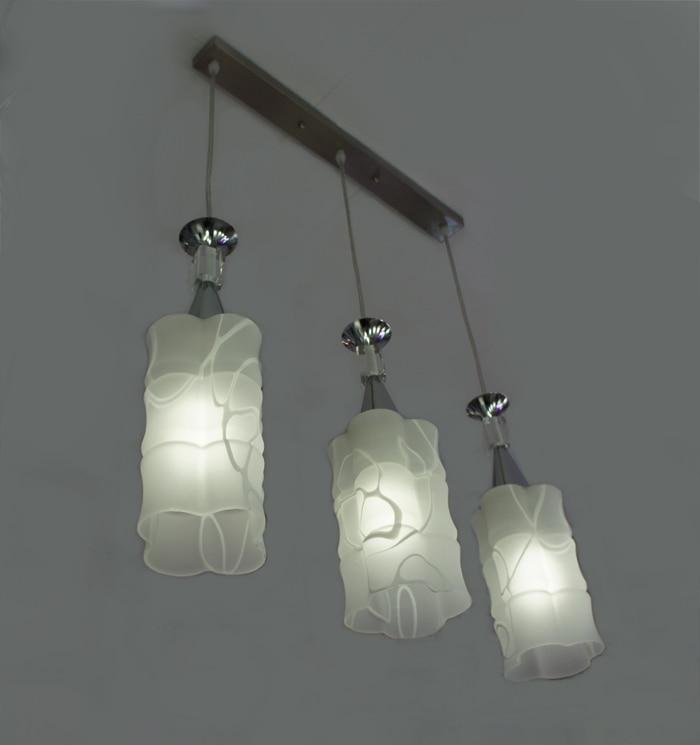 Modern Glass Dining Room Pendant Light Simple Creative White printing Chrome Restaurant Bar Counter Pendant Lamp
