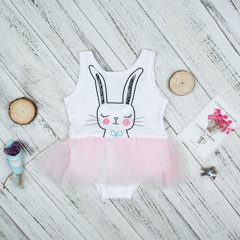 2017 Newborn Onesie Lovely Girls Cartoon Rabbit Print Sleeveless Pink Lace Tutu White Bodysuit Girls Clothes Summer Fashion