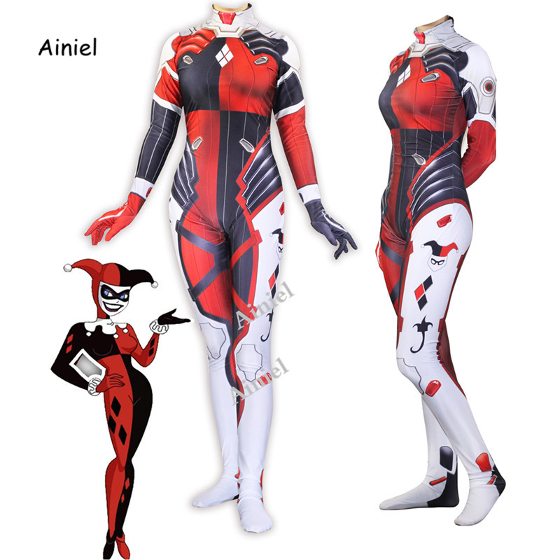 Ainiel Batman Suicide Squad Harley Quinn D.VA Cosplay Costume Harleen Quinzel Zentai Bodysuit Suit Jumpsuits For Women And Girls