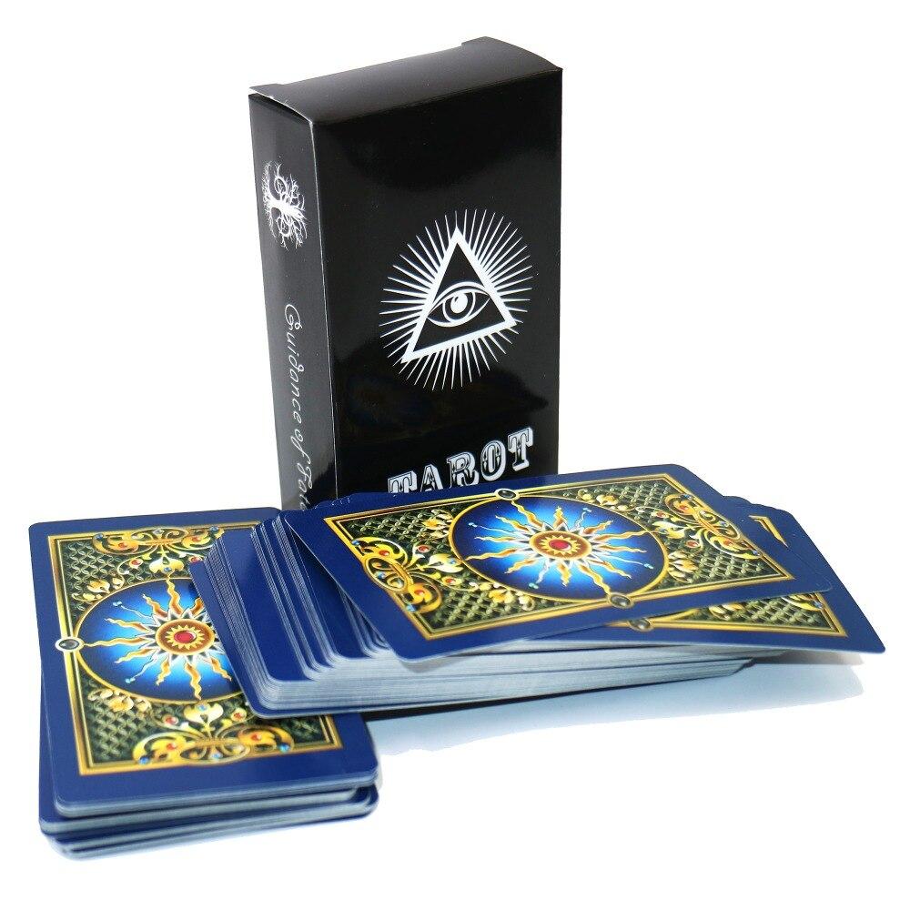 La de oro inglés cartas del tarot misterioso brillante tarot cubierta jugando a las cartas de juego para las mujeres, juego de mesa