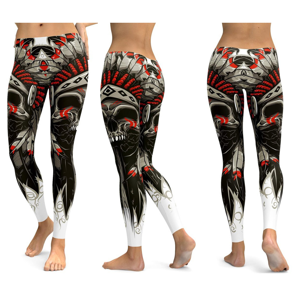 Skull Leggings Yoga Pants Women Sports Pants Fitness Running Sexy Push Up Gym Wear Elastic Slim Workout Leggings 30