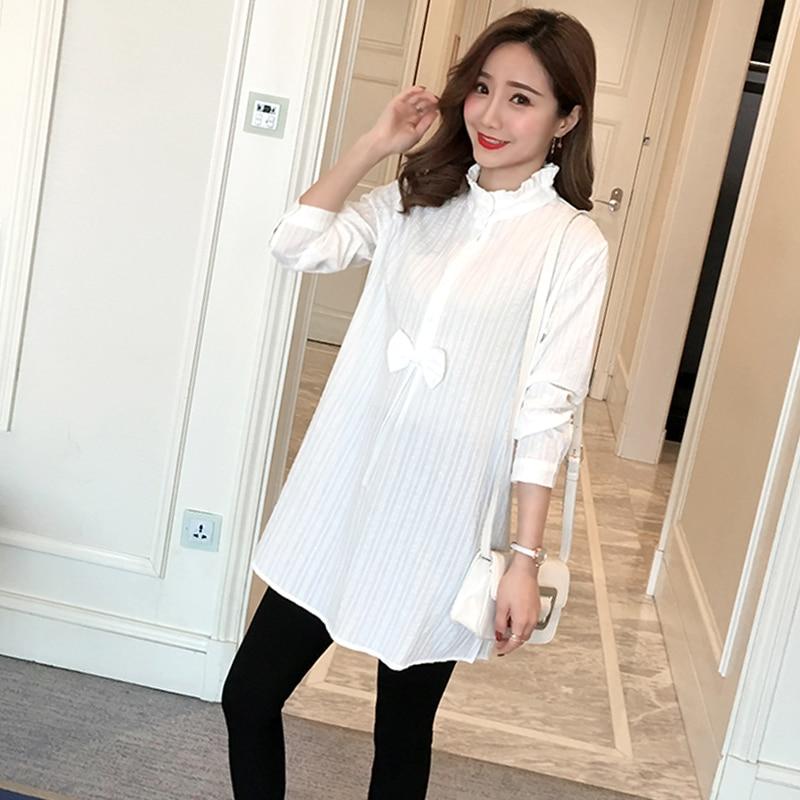 3b1081624 936   camisas de maternidad de algodón a rayas blancas 2019 ropa de moda de  primavera y otoño para mujeres embarazadas encantadoras camisetas de  embarazo ...