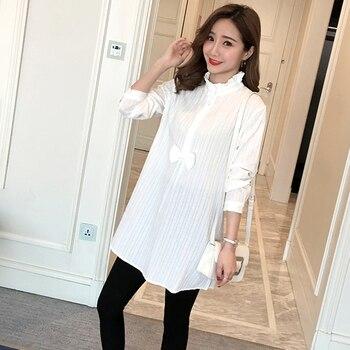 89a08d44c 936   camisas de maternidad de algodón a rayas blancas 2019 ropa de moda de  primavera y otoño para mujeres embarazadas encantadoras camisetas de  embarazo ...