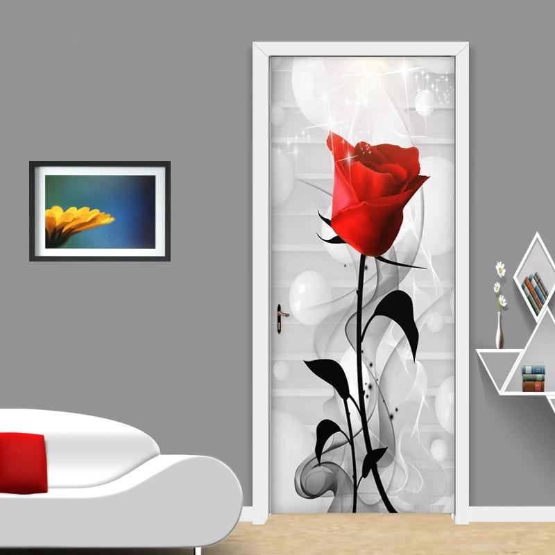 Modern Abstract Smog Red Rose Wall Sticker Living Room Wedding House Sticker Door Decorating Vinyl Waterproof Papel De Parede 3D|Door Stickers| |  - title=