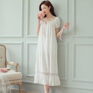 Image 1 - קיץ נשים כותנות לילה לבן כותנה קצר שרוול כותונת בציר ארוך הלבשת תחרה סקסית Nightwear בית לילה שמלת 2020