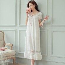 여름 여성 잠옷 화이트 코튼 반팔 Nightdress 빈티지 긴 잠옷 레이스 섹시한 Nightwear 홈 나이트 드레스 2020