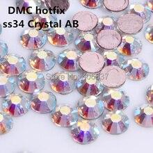 144 шт./лот, ss34(7,0-7,3 мм) высокое качество кристалл dmc AB железо на стразы/горячая фиксация стразы