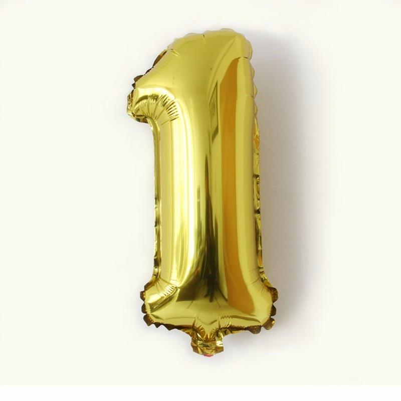 32inch Gold Silver Number foil balloons balon udara digital Happy - Barang-barang untuk cuti dan pihak - Foto 3
