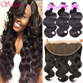 8A Brazilian Virgin Hair with Closure Brazilian Body Wave with Frontal Closure 13x4 Ear to Ear Lace Frontal Closure with Bundles