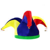 2016 Hot Sale New Colorful Halloween Party Clown Hat With Small Bell Carnival Funny Costume Ball