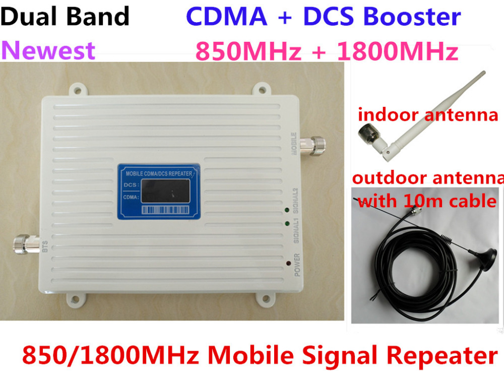 Newest LCD Display ! 2G CDMA 850MHz + 4G DCS 1800Mhz Dual Band Mobile Phone Signal Booster, Cell Phone Signal Repeater amplifier