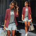 2017 New Womens Blazer Jacket Suit Work Casual Basic Long Sleeve Button Jacket Blazer cardigan tops plaid Outwear lady clothes