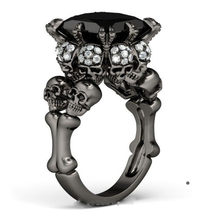 New Desgin Retro Jewelry 10KT Black Gold Filled Simulated stones Wedding Engagement Skull Band Rings For Women men Size 6-9(China)