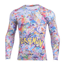 Wholesales Hot  New Cartoon Pokemon Pikachu T-shirt Digital Print Men's Anime Cosplay Costume Long Sleeve t shirt tee top
