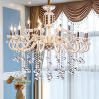 Living Room Crystal Chandeliers European Luxury Modern Restaurant Candle Lamps White Hall Bedroom Chandelier Lighting Lustre