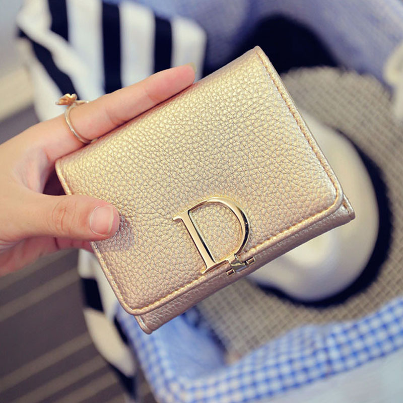 New fashion ladies coin purse D letter tower buckle simple Japanese and Korean short three-fold wallet rfid wallet