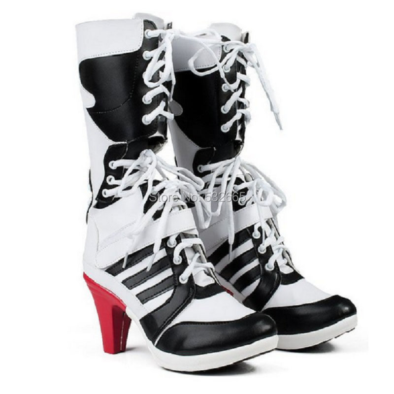 260e4bc2bef Cos Suicide Squad Harley Quinn Cosplay Boots Shoes Women Batman Arkham  Asylum City Joker Movie Halloween
