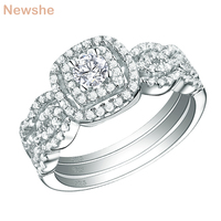Newshe 3 Pcs 925 Sterling Silver Wedding Rings For Women 1.3 Ct AAA Cubic Zirconia Engagement Ring Bridal Set Classic Jewelry