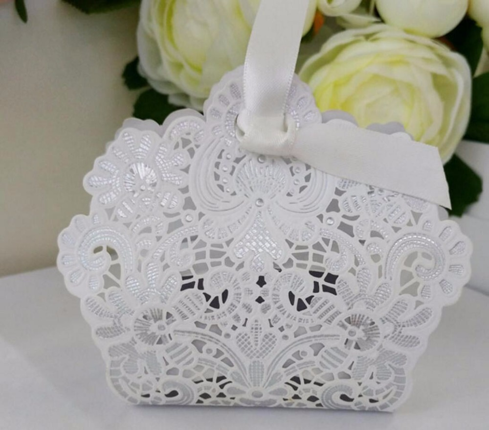 100pcs White Ivory Hollow Laser Cut Flowers Candy Chocolate Box ...