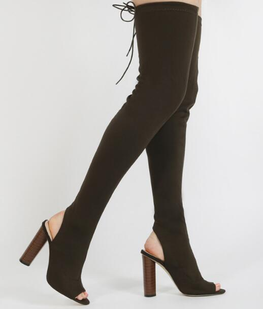 hot selling fashion stretch fabric over the knee boots Super high thick heels thigh high boots sexy open toe long boots black stretch fabric suede over the knee open toe knit boots cut out heel thigh high boots in beige knit elastic sock long boots