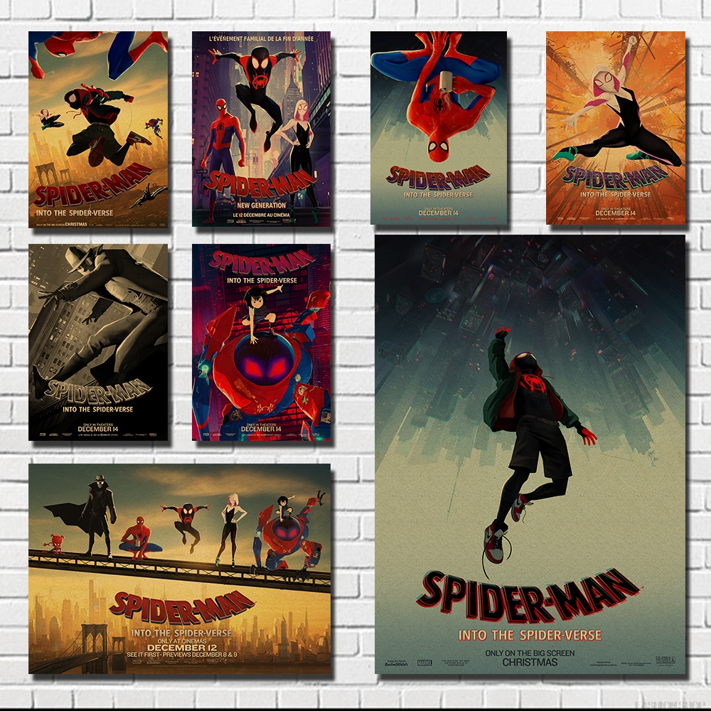 Spider Man Into the Spider VerseDecoration Poster Kraft Paper Poster Vintage Wall Sticker Retro Poster in Painting Calligraphy from Home Garden