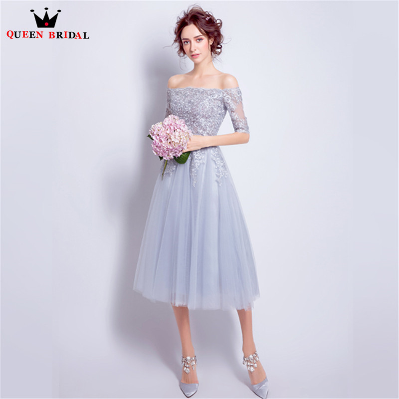 Tea Length A-line Half Sleeve Silver Tulle Lace Beading   Bridesmaid     Dresses   Short Wedding Party Gowns 2019 New Fashion JW50T