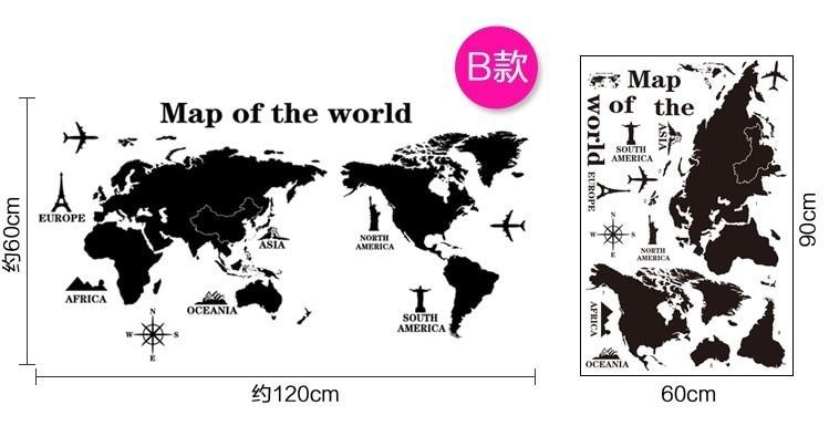 Stencil World Map.Quality Modern Black World Map Wall Stickers Pvc Stencil Men Living