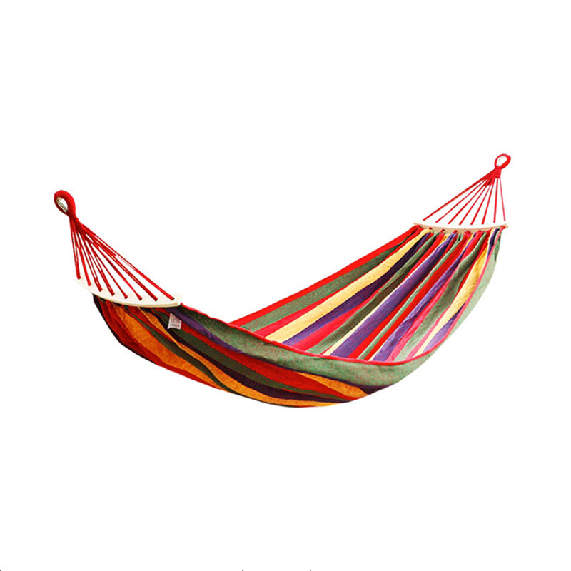 260*80cm 1 People Outdoor Canvas Camping Hammock Bend Wood Stick Steady Hamak Garden Swing Hanging Chair Hangmat Blue Red 030