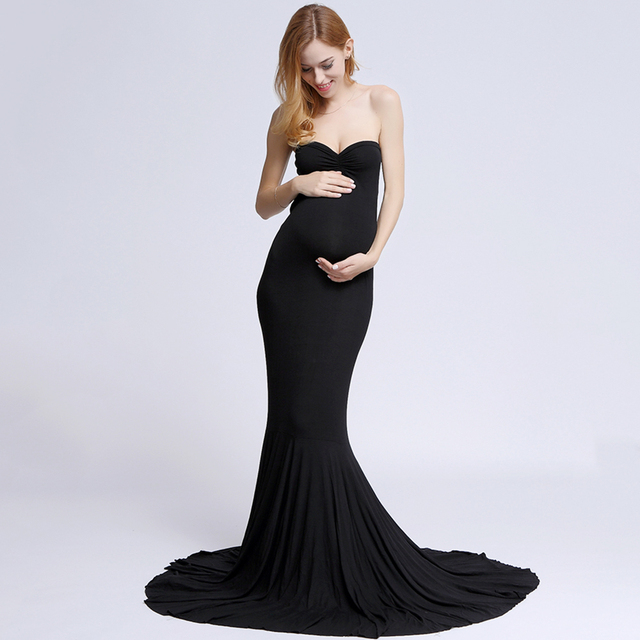 DON&JUDY Stretch Cotton Boob Tube top Maternity Photography Dress Maternity Gown Baby shower Gift