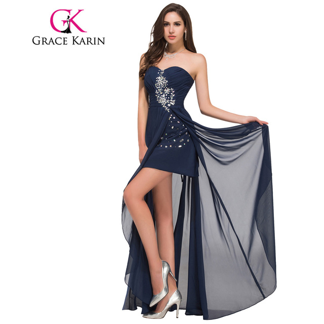 Grace Karin Long Evening Dress Short Front Long Back Strapless Chiffon High Split Red Navy Blue Special Occasion Dresses 2017