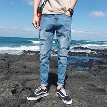 HOT 2019 Fashion Casual teenagers students pancel pants Mens summer fashionable man leg knee cut hole cowboy Ankle Length