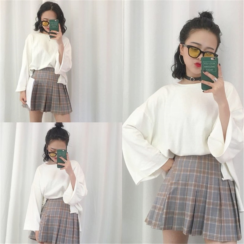 2016 Summer Vintage Women Skirt Saias Na Altura Do Joelho Pleated Skirt Fashion etek Leisure Lolita High Waist Plaid Skirt S-L