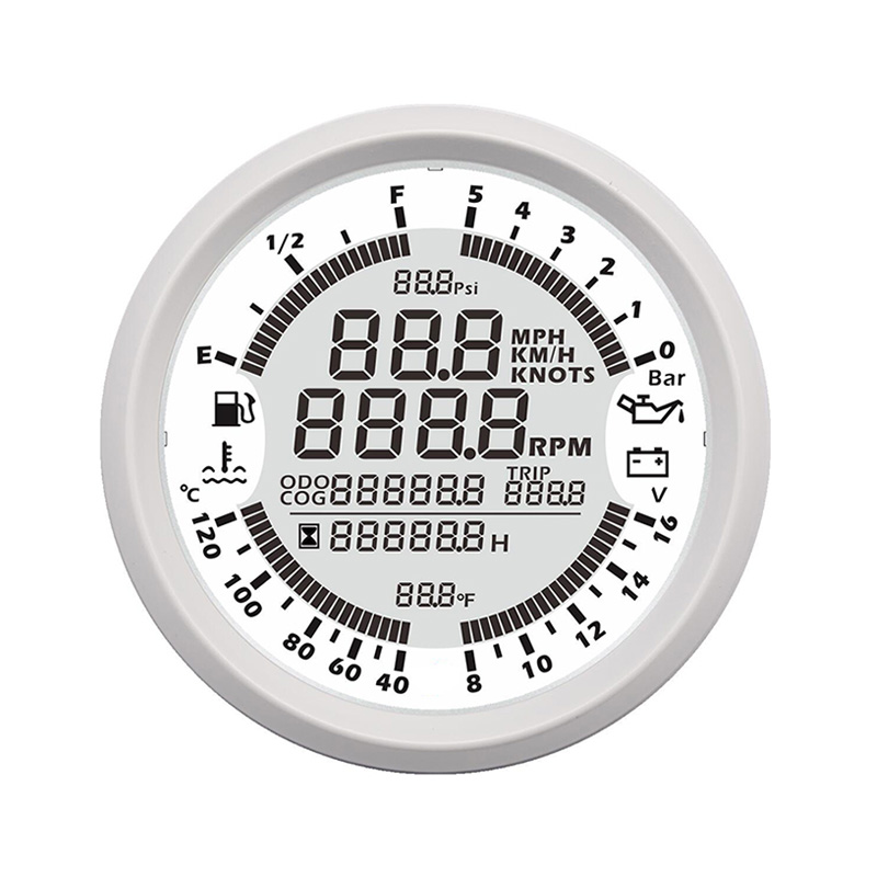 Car Speedometer Gauge GPS Boat Tachometer Multifunctional Water Temp Fuel Level Voltmeter Oil Pressure Fit Car Motorcycle Ship