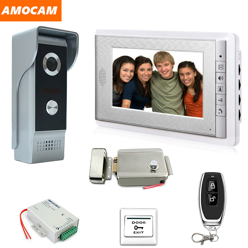 Video Intercom Doorbell Kits 7'' Monitor Wired Video Door Phone System 700TVL IR Camera With Electric Lock + Remote Control+Exit