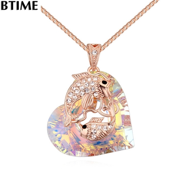 Btime wholesale crystal heart love necklace pendant charms lxury btime wholesale crystal heart love necklace pendant charms lxury animal dolphins girl wife crystals from swarovski aloadofball Choice Image