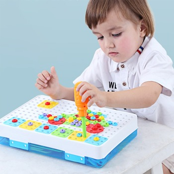 Kids Drill Toys Creative Educational Toy Electric Drill Screws Puzzle Assembled Mosaic Design Building Toys Boy Pretend Play Toy 54pcs diy flower building block toy garden building toys educational creative playset pretend toy for kids