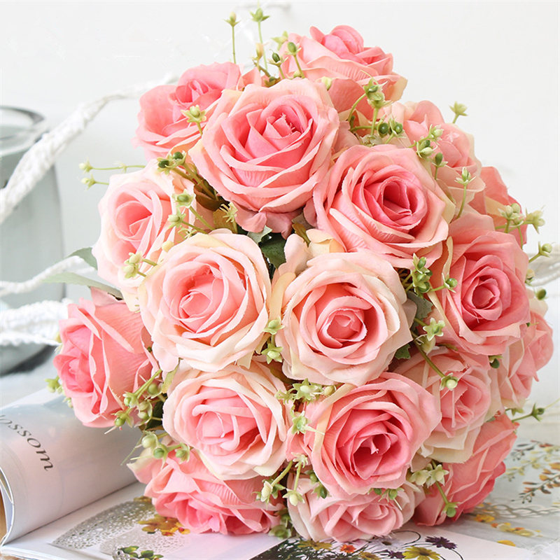 YO CHO Bride Wedding Bouquet Polyester 9 Heads Rose Gypsophila Bouquet Bridesmaid Artificial Silk Flower DIY Wedding Accessories