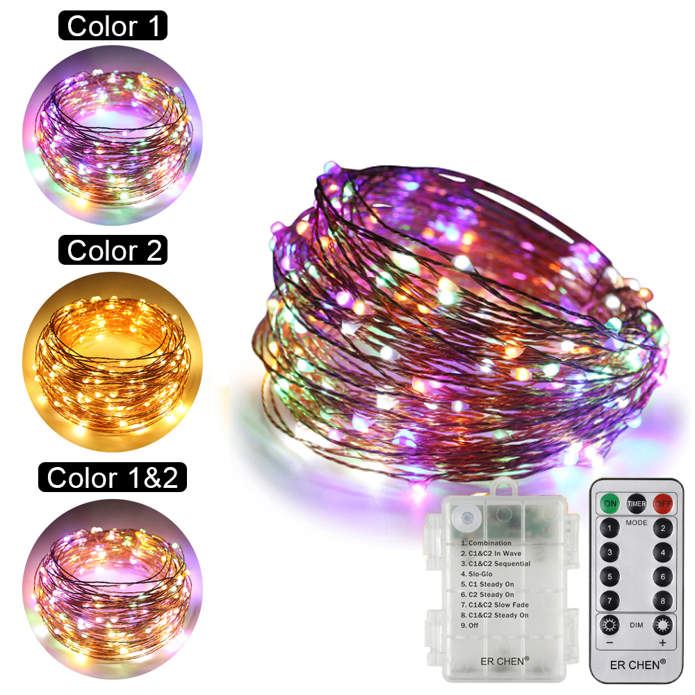Dual-Color Remote Control Battery 100/200 LED Copper Wire String Lights 8 Modes Timed Fairy Lights for Christmas Party Wedding