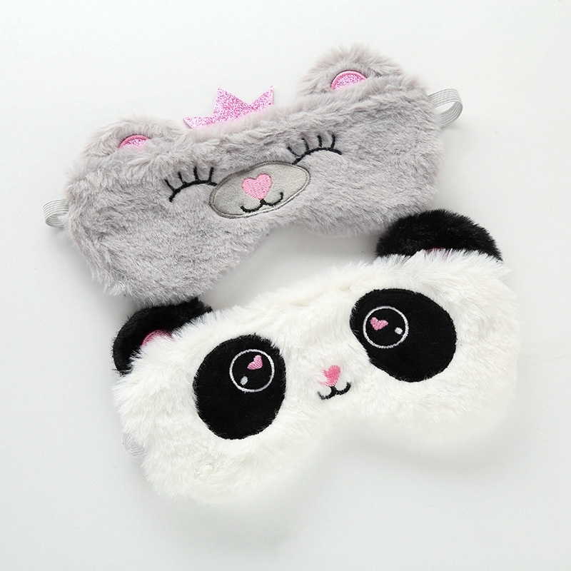 Panda Eye Mask Plush Girl Animal Plush Toy Eye Mask Panda Suitable For Travel Home Party Gifts Stuffed Plush Animals Kids Toys