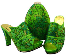 Most popular green women pumps african shoes match handbag set rhinestone lady shoes for dress BCH-32,heel 11.5CM 2017 high quality african style woman shoes and bag set summer rhinestone slipper shoes and bag set for christmas party bch 15