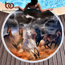 BeddingOutlet лошадей большой круглый пляжное Полотенца для взрослых из микрофибры Toalla 3D Dusty Lightning Пикник Одеяло фотографии коврик для йоги