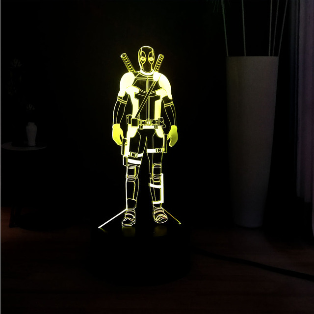 3D Legal Deadpool Marvel Superhero 7 Mudança de Cor Painel de Acrílico Ilusão RGB Lâmpada Ao Lado Da Lâmpada LED Mesa de Cabeceira Presente Das Crianças brinquedo