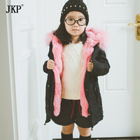 JKP 2018 last Children's clothing jacket Rabbit Fur Outerwear boys and girls baby fur Big real raccoon collar kids Parkas CT 17