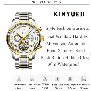 Image 2 - KINYUED Business Mechanical Watches Mens Skeleton Tourbillon Automatic Watch Men Gold Steel Calendar Waterproof Relojes Hombre